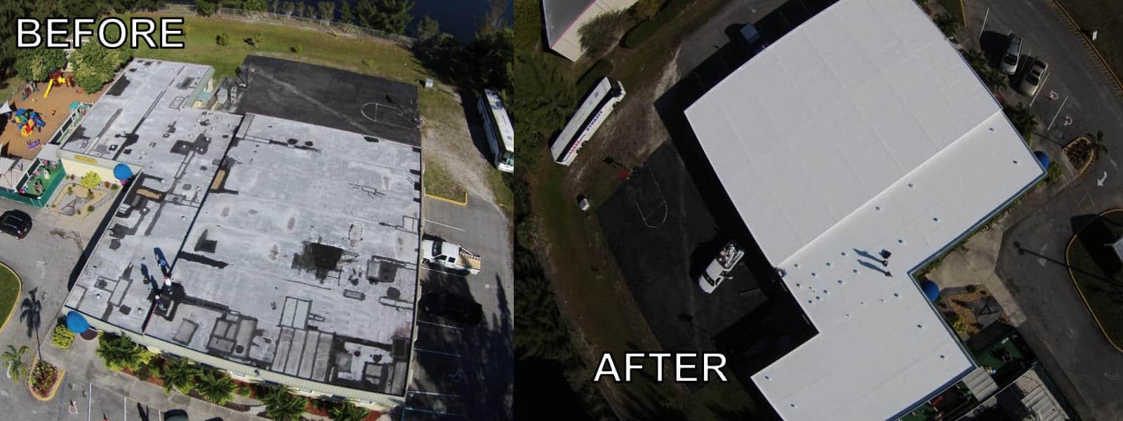 EZ General before-after commercial asphalt roofing - church1600px