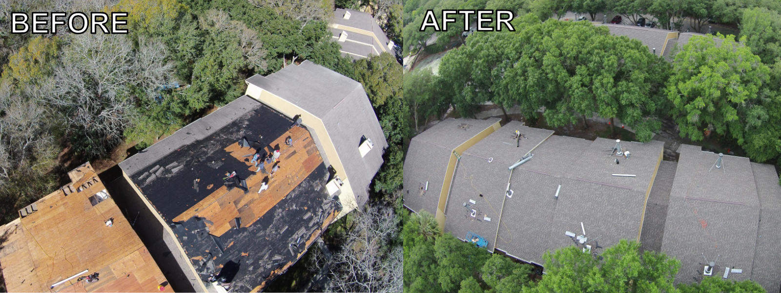 EZ General before-after commercial shingle roofing - apartments 1600px